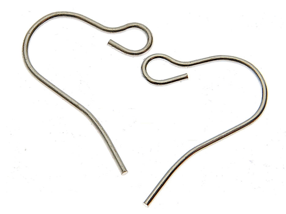 2 pcs French Earring Hooks, Wire, 16.3x12.6mm, Platinum Plated