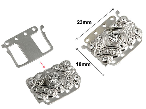 1 pc Jewelry Mechanical Clasp, 23x18mm, Platinum Plated