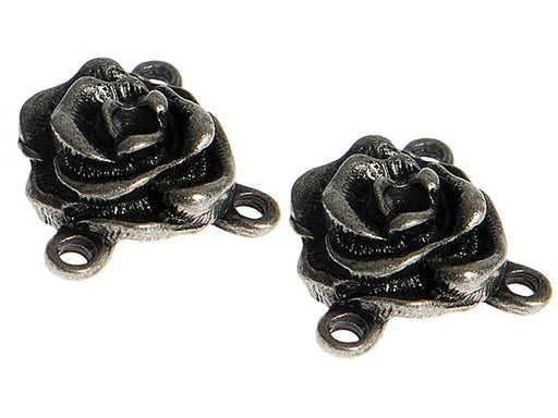 1 pc Connector Charm Rose, Antique Silver