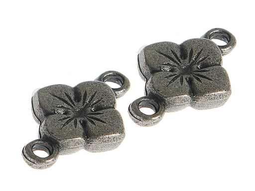 1 pc Connector Charm Flower, Antique Silver