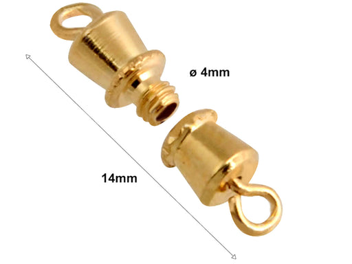 1 pc Barrel Screw Clasp, 14x4mm, Gold Plated