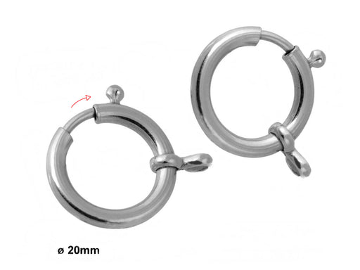 1 pc Spring Clasp, 20mm, Platinum Plated