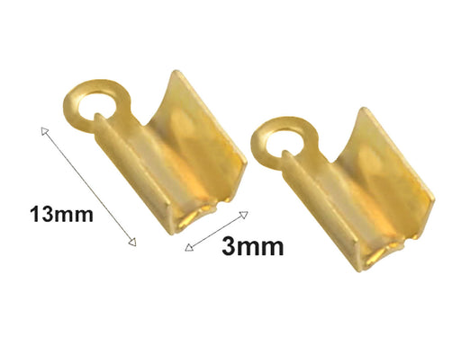 1 pc Jewelry Crimp Finish Connector, 13x3mm, Gold Plated
