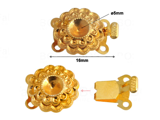 1 pc Jewelry Mechanical Clasp, 16x11mm, Gold Plated