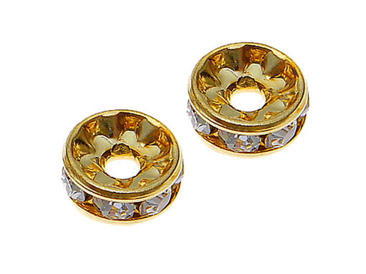 1 pc Rondelle, 8mm, Crystal Gold Plated