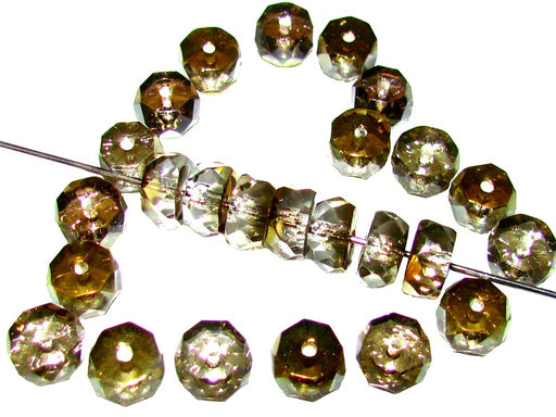 50 pcs Belly Rondelles Beads Faceted Washers, 3x6mm, Crystal Valentinite, Czech Glass