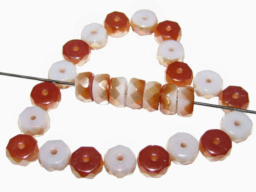 50 pcs Belly Rondelles Beads Faceted Washers, 3x6mm, White Opal Half Apricot, Czech Glass