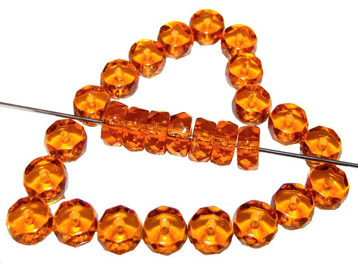 50 pcs Belly Rondelles Beads Faceted Washers, 3x6mm, Topaz Transparent, Czech Glass