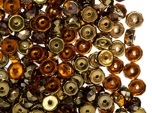 50 pcs Belly Rondelles Beads Faceted Washers, 3x6mm, Topaz Amber, Czech Glass