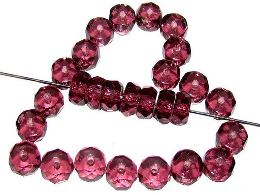 50 pcs Belly Rondelles Beads Faceted Washers, 3x6mm, Amethyst, Czech Glass