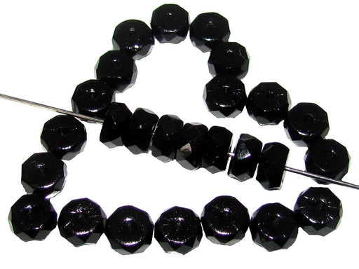 50 pcs Belly Rondelles Beads Faceted Washers, 3x6mm, Jet Black, Czech Glass