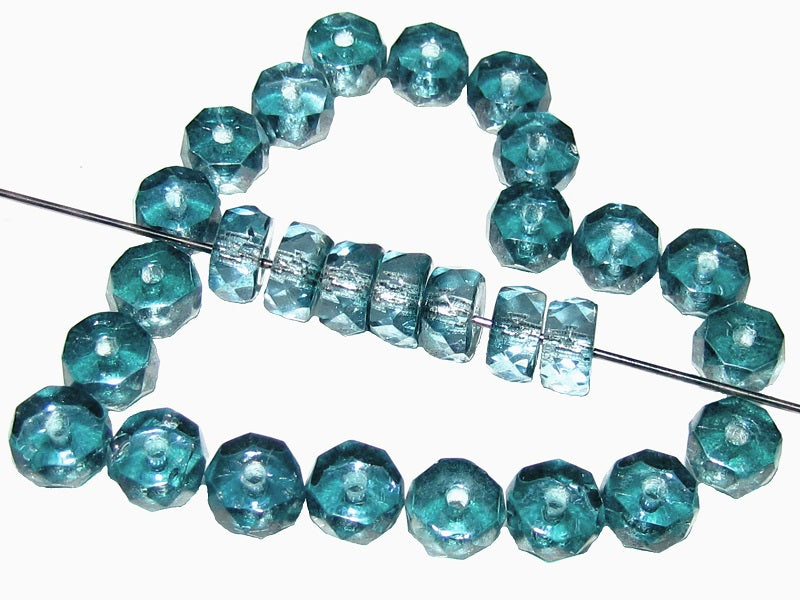 50 pcs Belly Rondelles Beads Faceted Washers, 3x6mm, Blue Transparent Aqua Luster, Czech Glass