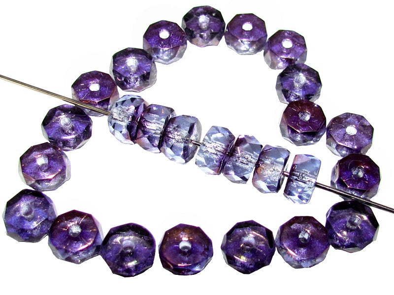 50 pcs Belly Rondelles Beads Faceted Washers, 3x6mm, Blue Transparent Purple Luster, Czech Glass