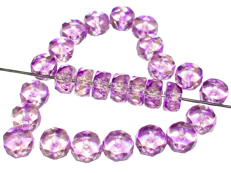 50 pcs Belly Rondelles Beads Faceted Washers, 3x6mm, Crystal Purple, Czech Glass