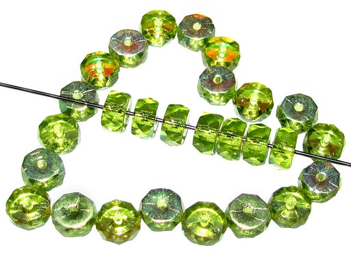 50 pcs Belly Rondelles Beads Faceted Washers, 3x6mm, Olivine AB, Czech Glass