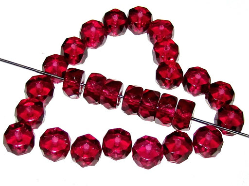 50 pcs Belly Rondelles Beads Faceted Washers, 3x6mm, Fuchsia, Czech Glass