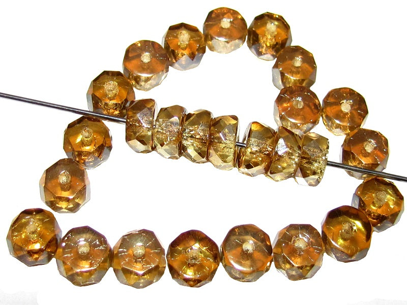 pack of 20 Czech glass pressed beads faceted yellow