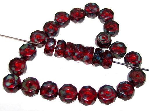 50 pcs Belly Rondelles Beads Faceted Washers, 3x6mm, Ruby Travertine, Czech Glass