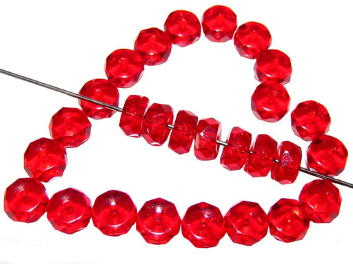 50 pcs Belly Rondelles Beads Faceted Washers, 3x6mm, Ruby, Czech Glass