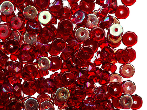 50 pcs Belly Rondelles Beads Faceted Washers, 3x6mm, Dark Ruby AB, Czech Glass