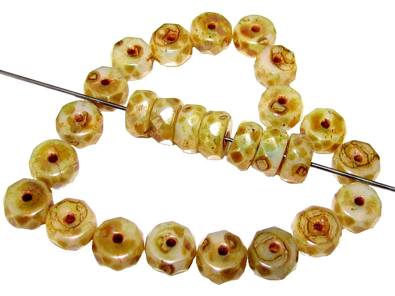 Belly Rondelles Beads Faceted Washers, 3x6mm, White Opal Travertine, Czech Glass