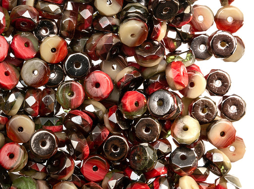 50 pcs Belly Rondelles Beads Faceted Washers, 3x6mm, Multicolored, Czech Glass