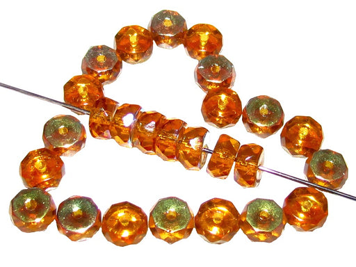 50 pcs Belly Rondelles Beads Faceted Washers, 3x6mm, Topaz Transparent AB, Czech Glass