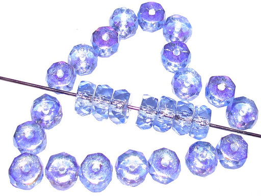 50 pcs Belly Rondelles Beads Faceted Washers, 3x6mm, Blue Transparent AB, Czech Glass