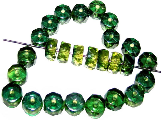50 pcs Belly Rondelles Beads Faceted Washers, 3x6mm, Olivine Aqua Luster, Czech Glass