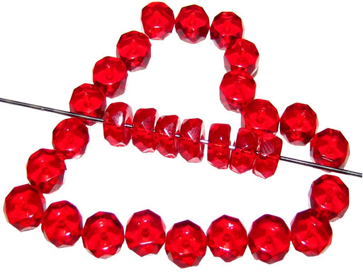 50 pcs Belly Rondelles Beads Faceted Washers, 3x6mm, Dark Ruby Transparent, Czech Glass