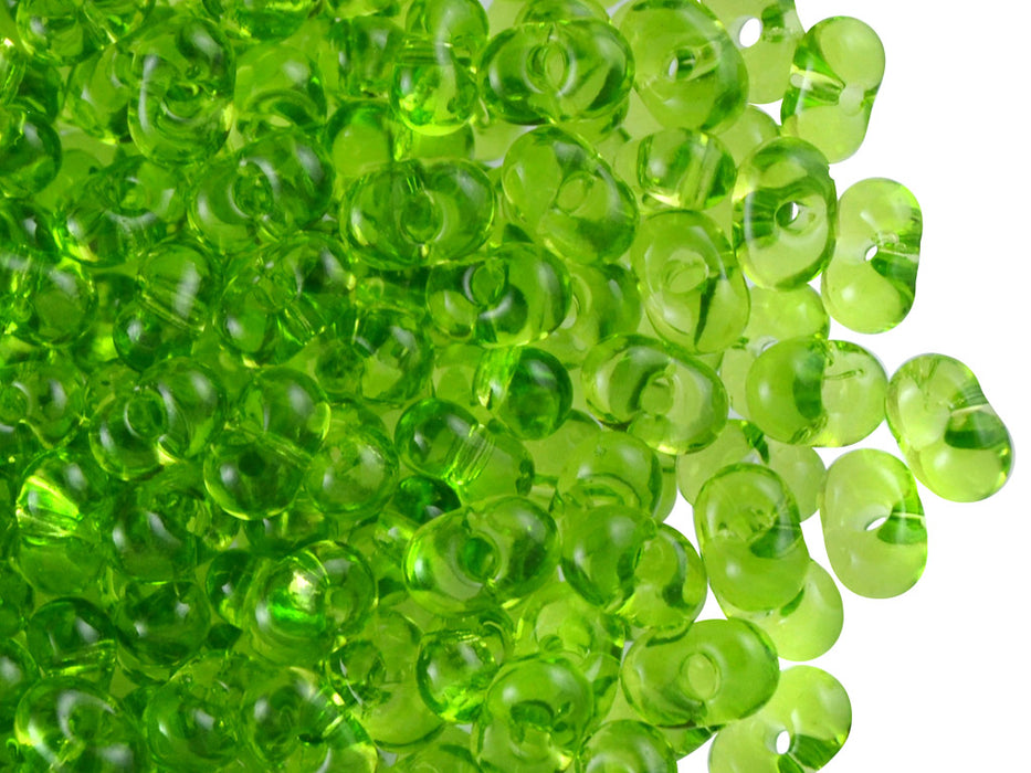 20 g Farfalle™ Beads Preciosa Ornela, 3.2x6.5mm, Olivine Transparent (Light Green Transparent), Czech Glass