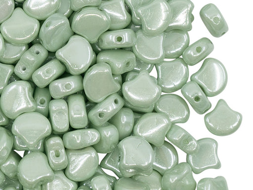 Ginko Beads 7.5x7.5x3.4 mm, 2 Holes, Chalk Light Green Luster, Czech Glass