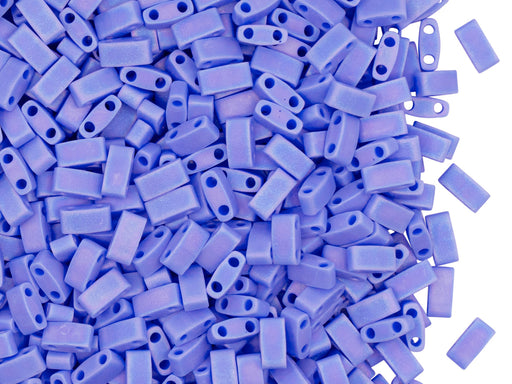 5 g Half Tila Beads 5x2.3x1.9 mm, 2 Holes, Opaque Periwinkle Matted AB, Miyuki Japanese Beads