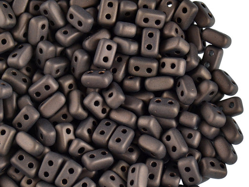50 pcs Ios® Par Puca® 2-hole Beads, 2.5x5.5mm, Jet Bronze Matte, Czech Glass