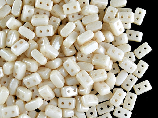 50 pcs Ios® Par Puca® 2-hole Beads, 2.5x5.5mm, Chalk Beige Luster, Czech Glass