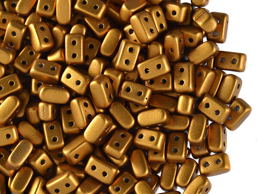 50 pcs Ios® Par Puca® 2-hole Beads, 2.5x5.5mm, Crystal Bronze Gold Matte (Brass Gold), Czech Glass