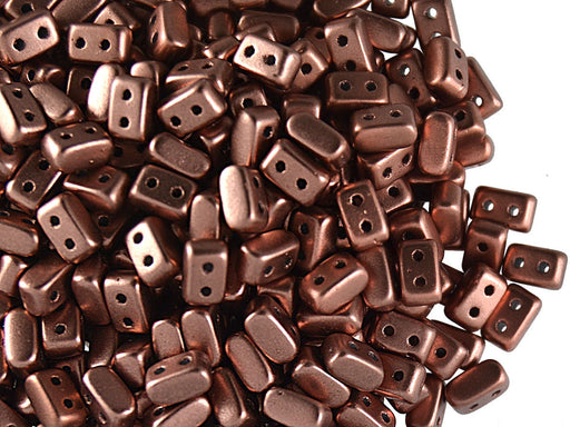 50 pcs Ios® Par Puca® 2-hole Beads, 2.5x5.5mm, Copper Gold Matte, Czech Glass