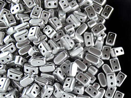 50 pcs Ios® Par Puca® 2-hole Beads, 2.5x5.5mm, Silver Matte (Crystal Bronze Aluminum), Czech Glass