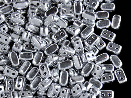 50 pcs Ios® Par Puca® 2-hole Beads, 2.5x5.5mm, Crystal Argentees (Silver), Czech Glass