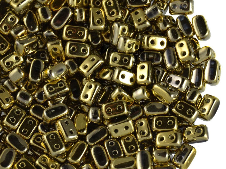 50 pcs Ios® Par Puca® 2-hole Beads, 2.5x5.5mm, Crystal Full Dorado, Czech Glass