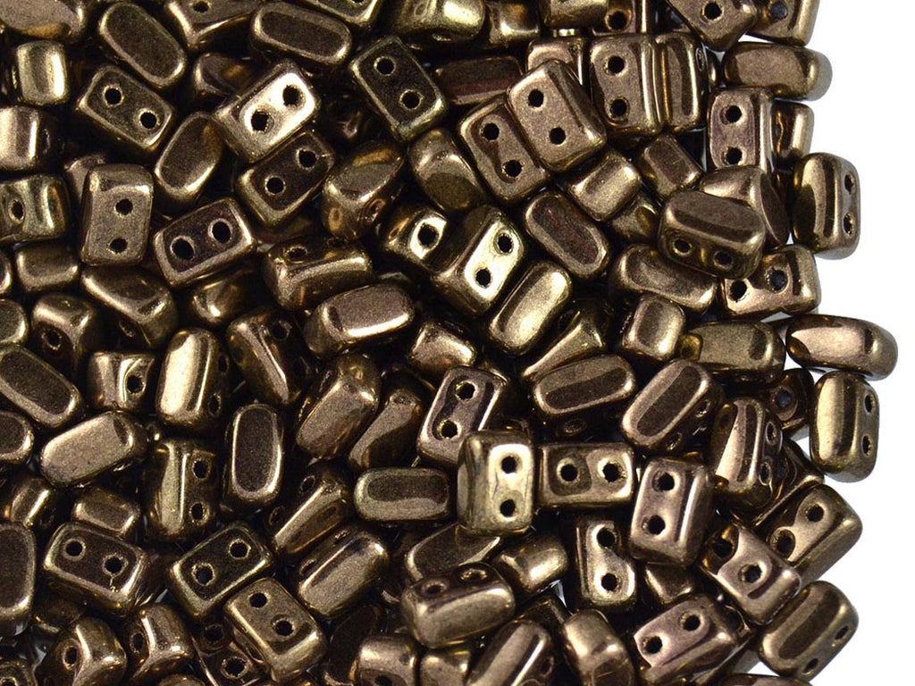 50 pcs Ios® Par Puca® 2-hole Beads, 2.5x5.5mm, Dark Gold Bronze, Czech Glass