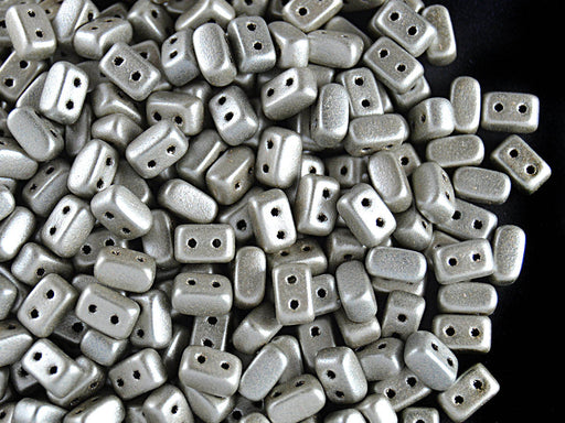 50 pcs Ios® Par Puca® 2-hole Beads, 2.5x5.5mm, Metallic Mat Beige, Czech Glass
