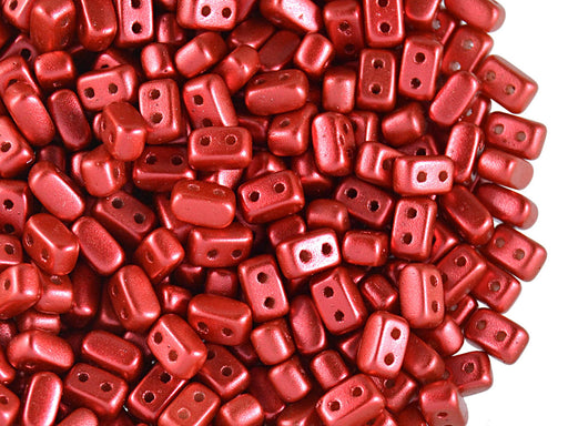 50 pcs Ios® Par Puca® 2-hole Beads, 2.5x5.5mm, Red Metallic Mat, Czech Glass
