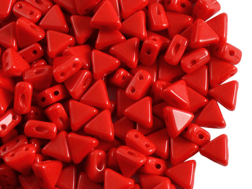 50 pcs Khéops® Par Puca® 2-hole Beads, Triangle 6mm, Opaque Coral Red, Czech Glass