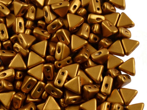 50 pcs Khéops® Par Puca® 2-hole Beads, Triangle 6mm, Crystal Bronze Gold Matte, Czech Glass