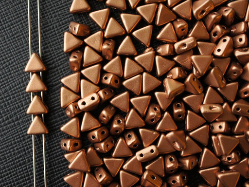 50 pcs Khéops® Par Puca® 2-hole Beads, Triangle 6mm, Crystal Bronze Copper Matte, Czech Glass