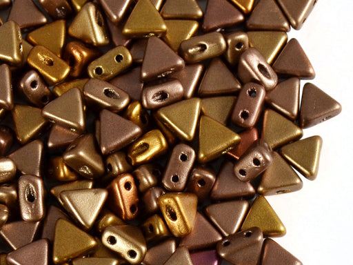 50 pcs Khéops® Par Puca® 2-hole Beads, Triangle 6mm, Crystal Gold Rainbow, Czech Glass