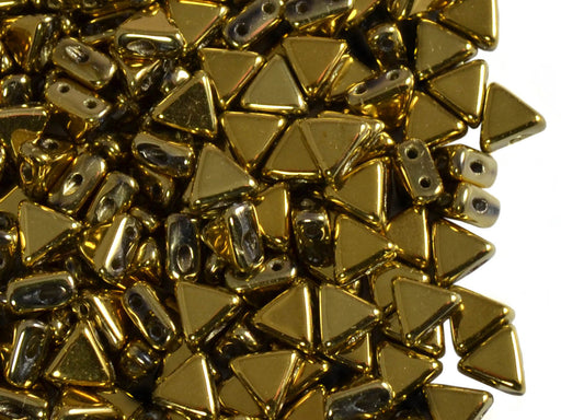 50 pcs Khéops® Par Puca® 2-hole Beads, Triangle 6mm, Crystal Full Dorado, Czech Glass