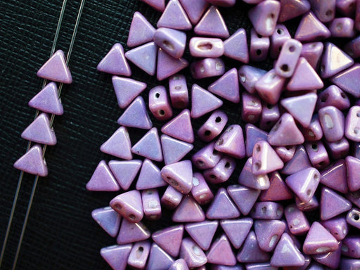 50 pcs Khéops® Par Puca® 2-hole Beads, Triangle 6mm, Chalk Vega Luster (Vega On Chalk), Czech Glass