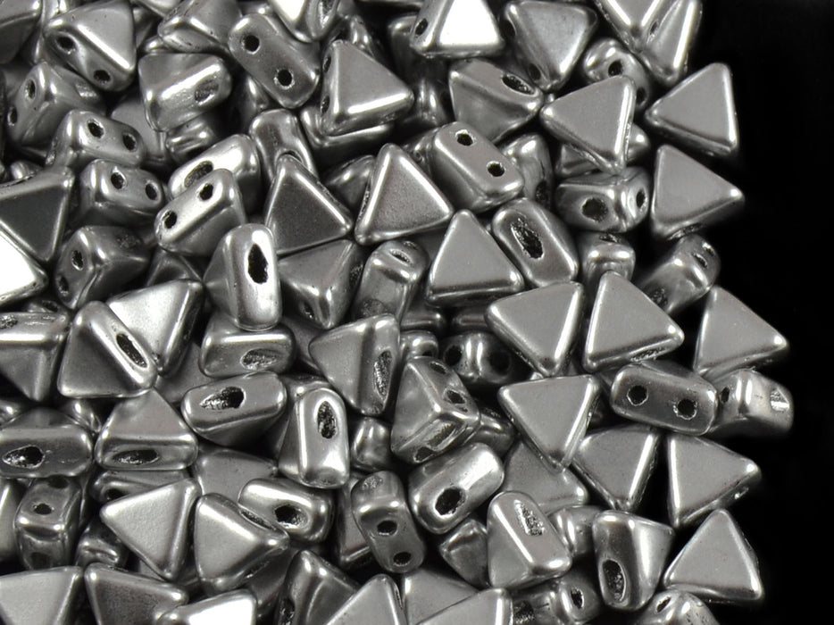 50 pcs Khéops® Par Puca® 2-hole Beads, Triangle 6mm, Crystal Silver Aluminum, Czech Glass